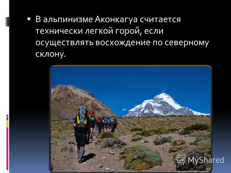 В альпинизме Аконкагуа считается технически легкой горой, если осуществлять восхождение по северному склону.
