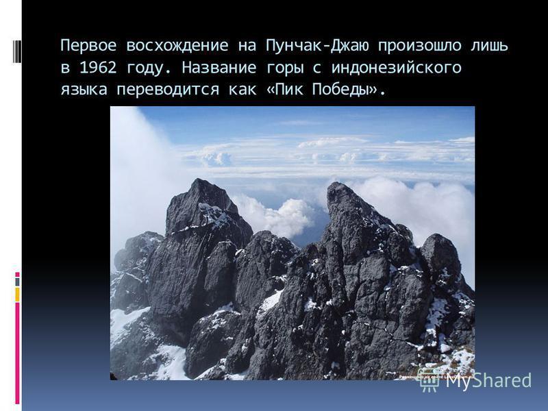 Первое восхождение на Пунчак-Джаю произошло лишь в 1962 году. Название горы с индонезийского языка переводится как «Пик Победы».