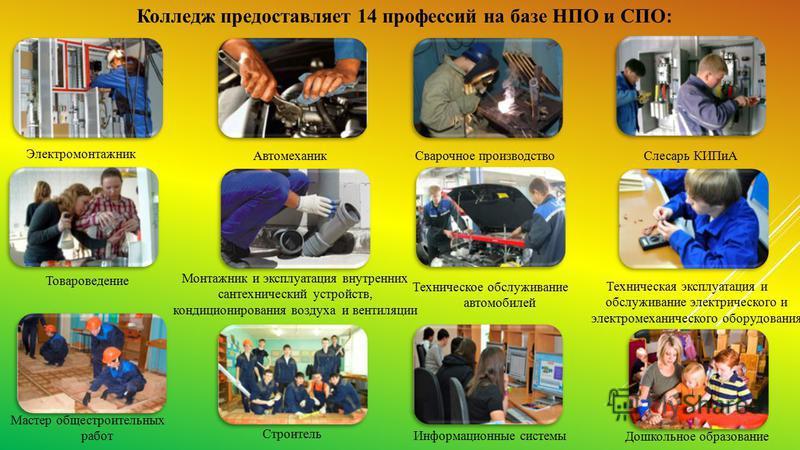Колледж предоставляет 14 профессий на базе НПО и СПО: Электромонтажник Товароведение Монтажник и эксплуатация внутренних сантехнический устройств, кондиционирования воздуха и вентиляции Автомеханик Сварочное производство Дошкольное образование Технич