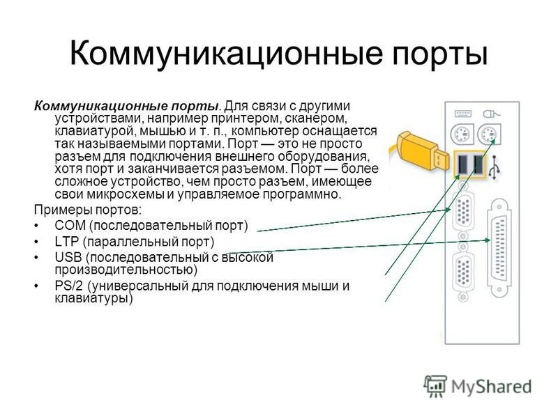 Коммуникационные порты Коммуникационные порты. Для связи с другими устройствами, например принтером, сканером, клавиатурой, мышью и т. п., компьютер оснащается так называемыми портами. Порт это не просто разъем для подключения внешнего опорудования,