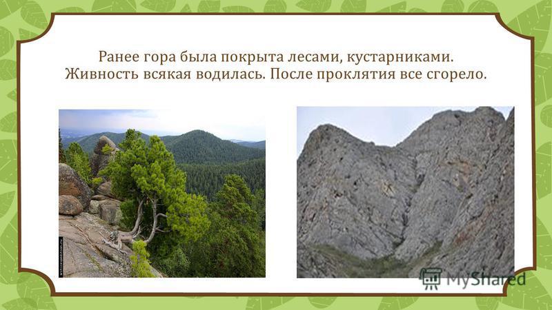 Ранее гора была покрыта лесами, кустарниками. Живность всякая водилась. После проклятия все сгорело.