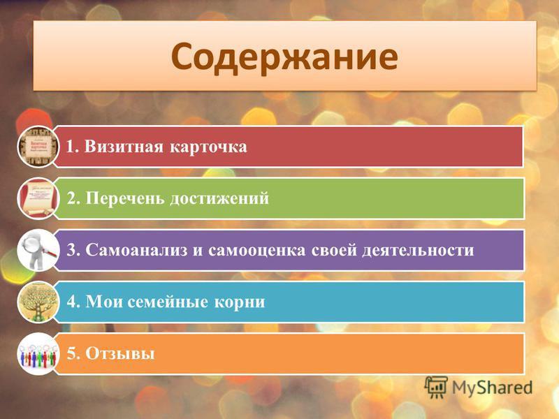 Содержание 1. Визитная карточка 2. Перечень достижений 3. Самоанализ и самооценка своей деятельности 4. Мои семейные корни 5. Отзывы