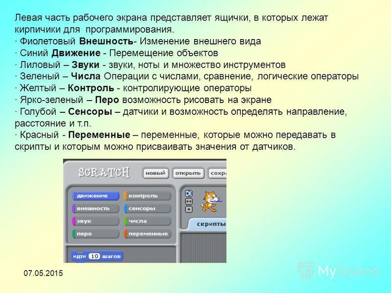 Левая часть рабочего экрана представляет ящички, в которых лежат кирпичики для программирования. · Фиолетовый Внешность- Изменение внешнего вида · Синий Движение - Перемещение объектов · Лиловый – Звуки - звуки, ноты и множество инструментов · Зелены