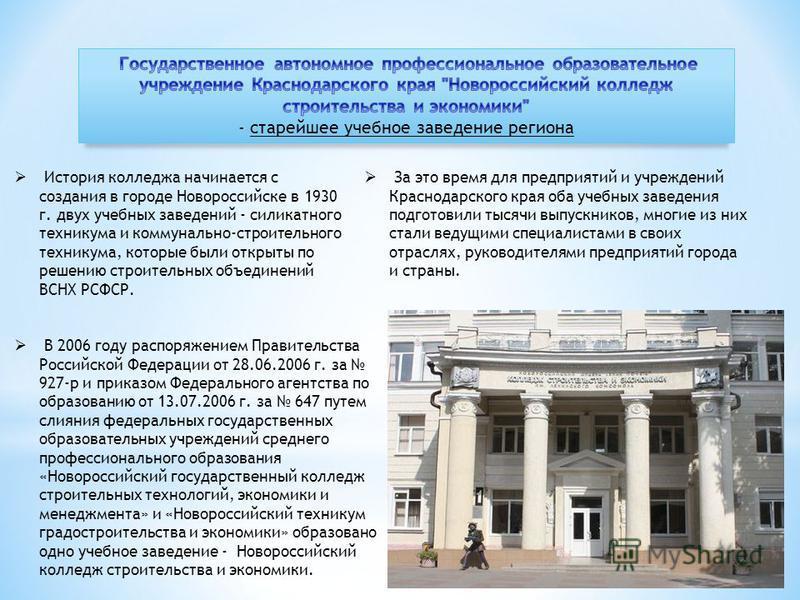 История колледжа начинается с создания в городе Новороссийске в 1930 г. двух учебных заведений - силикатного техникума и коммунально-строительного техникума, которые были открыты по решению строительных объединений ВСНХ РСФСР. В 2006 году распоряжени