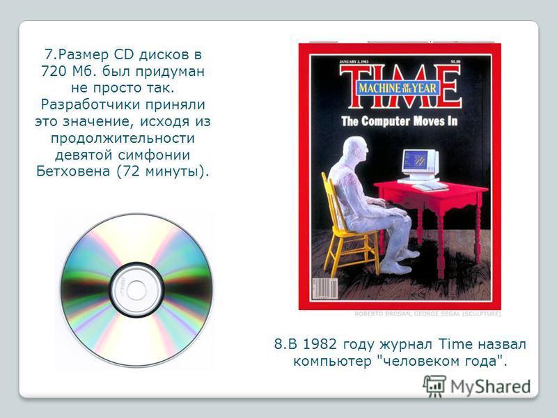 7. Размер CD дисков в 720 Мб. был придуман не просто так. Разработчики приняли это значение, исходя из продолжительности девятой симфонии Бетховена (72 минуты). 8. В 1982 году журнал Time назвал компьютер человеком года.
