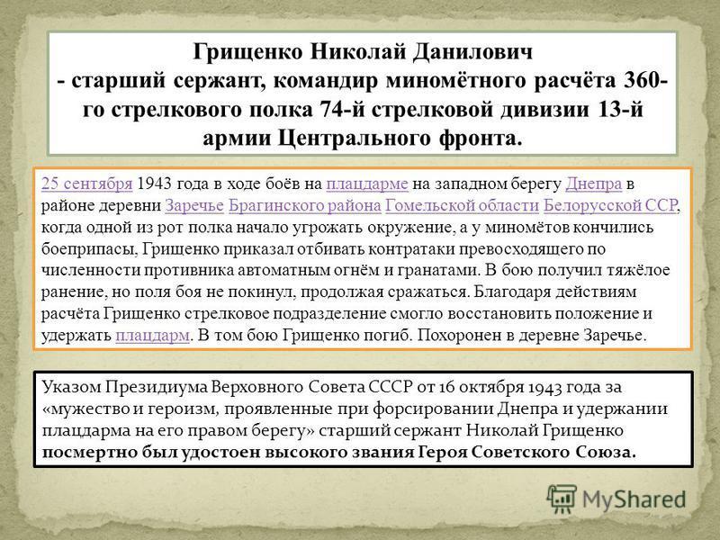 Грищенко Николай Данилович - старший сержант, командир миномётного расчёта 360- го стрелкового полка 74-й стрелковой дивизии 13-й армии Центрального фронта. 25 сентября 25 сентября 1943 года в ходе боёв на плацдарме на западном берегу Днепра в районе