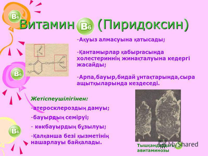 Витамин (Пиридоксин) -А қ уыз алмасуына қ атысады; - Қ антамырлар қ абыр ғ асында холестеринні ң жина қ талуына кедергі жасайды; -Арпа,бауыр,бидай ұ нта қ тарында,сыра ащыт қ ыларында кездеседі. Тыш қ андарда ғ ы авитаминозы Жетіспеушілігінен: -атеро