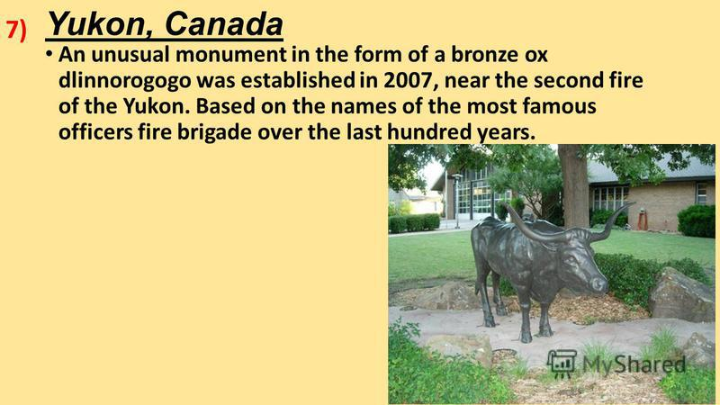 Yukon, Canada An unusual monument in the form of a bronze ox dlinnorogogo was established in 2007, near the second fire of the Yukon. Based on the names of the most famous officers fire brigade over the last hundred years. 7)