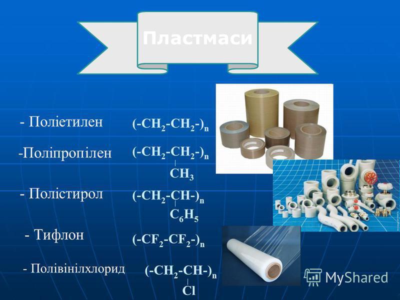 - Поліетилен (-CH 2 -CH 2 -) n -Поліпропілен CH 3 - Полістирол (-CH 2 -CH-) n C6H5C6H5 - Тифлон (-CF 2 -CF 2 -) n - Полівінілхлорид (-CH 2 -CH-) n Cl (-CH 2 -CH 2 -) n Пластмаси