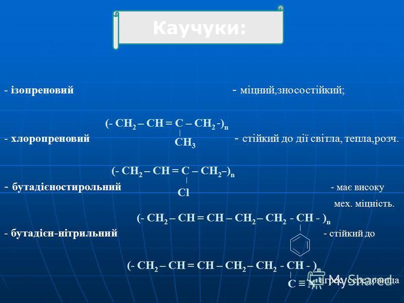 - ізопреновий - міцний,зносостійкий; - хлоропреновий - стійкий до дії світла, тепла,розч. - бутадієностирольний - має високу мех. міцність. - бутадієн-нітрильний - стійкий до (- CH 2 – CH = C – CH 2 - ) n CH 3 (- CH 2 – CH = C – CH 2 – ) n Cl (- CH 2