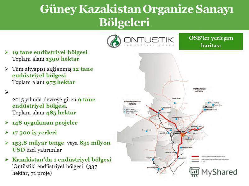 Güney Kazakistan Organize Sanayı Bölgeleri 19 tane endüstriyel bölgesi Toplam alanı 1390 hektar Tüm altyapısı sağlanmış 12 tane endüstriyel bölgesi Toplam alanı 975 hektar 2015 yılında devreye giren 9 tane endüstriyel bölgesi. Toplam alanı 485 hektar