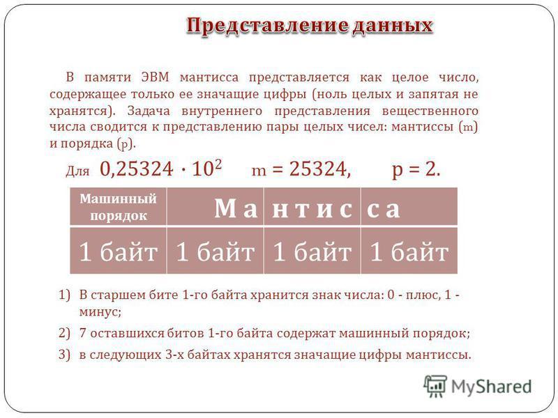 В памяти ЭВМ мантисса представляется как целое число, содержащее только ее значащие цифры ( ноль целых и запятая не хранятся ). Задача внутреннего представления вещественного числа сводится к представлению пары целых чисел : мантиссы (m) и порядка (p