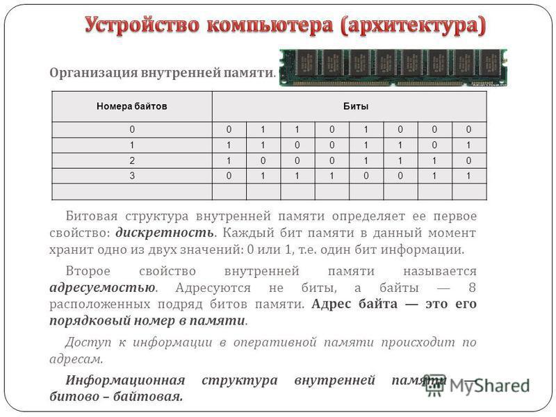 Битовая структура внутренней памяти определяет ее первое свойство : дискретность. Каждый бит памяти в данный момент хранит одно из двух значений : 0 или 1, т. е. один бит информации. Второе свойство внутренней памяти называется адресуемостью. Адресую