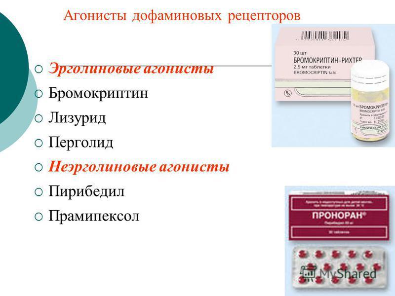Дофаминовых рецепторов агонист  13 лекарственных препаратов