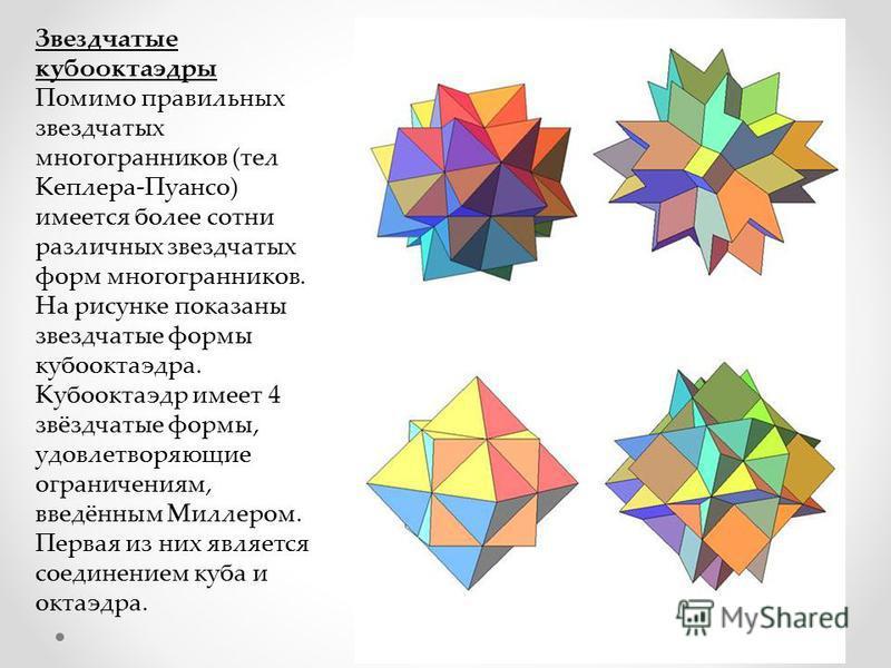 Звездчатые кубооктаэдры Помимо правильных звездчатых многогранников (тел Кеплера-Пуансо) имеется более сотни различных звездчатых форм многогранников. На рисунке показаны звездчатые формы кубооктаэдра. Кубооктаэдр имеет 4 звёздчатые формы, удовлетвор