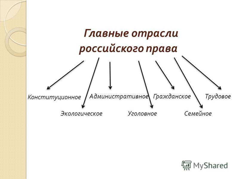 Главные отрасли российского права Конституционное Административное Гражданское Трудовое Семейное Уголовное Экологическое