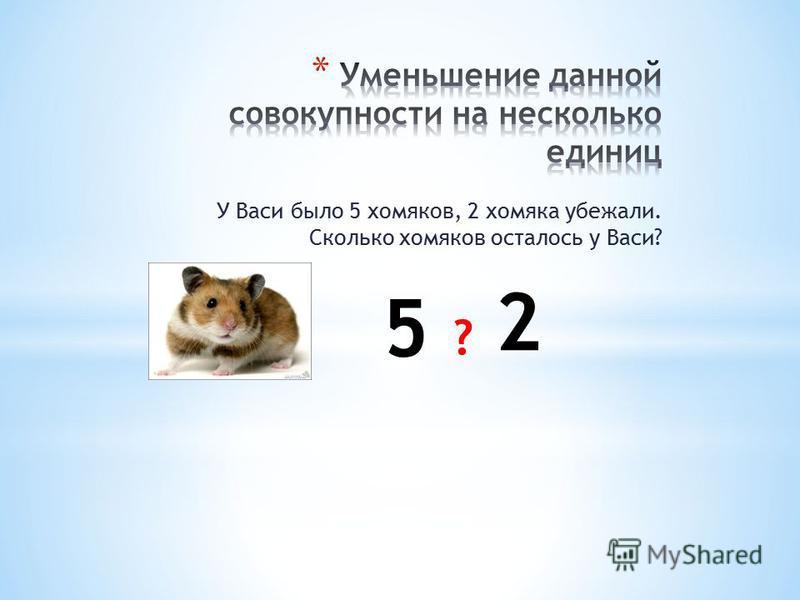 У Васи было 5 хомяков, 2 хомяка убежали. Сколько хомяков осталось у Васи? 5 2 ?