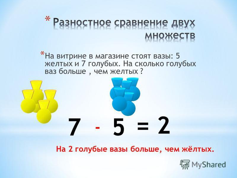 57 - = 2 На 2 голубые вазы больше, чем жёлтых.