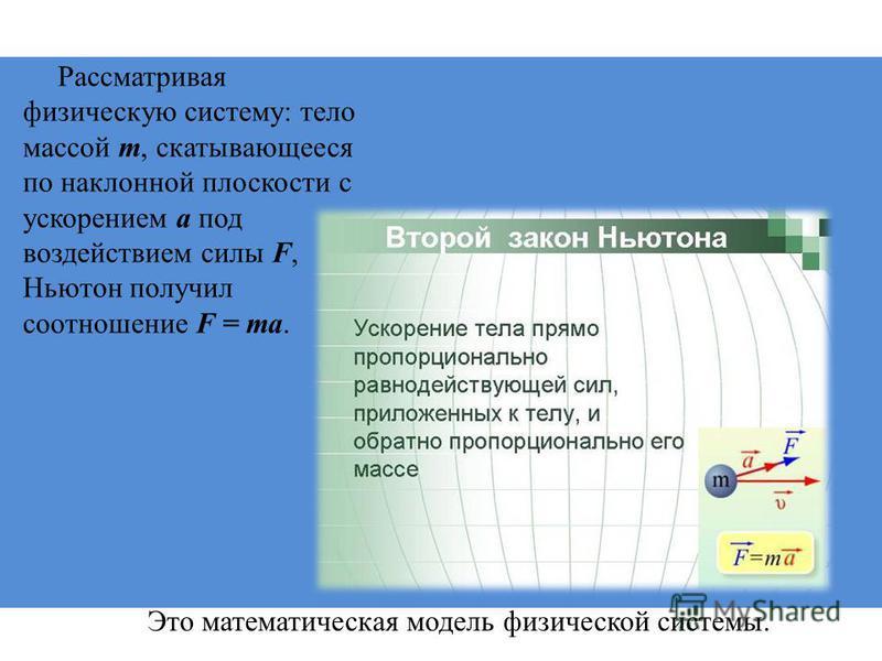 Рассматривая физическую систему: тело массой m, скатывающееся по наклонной плоскости с ускорением a под воздействием силы F, Ньютон получил соотношение F = ma. Это математическая модель физической системы.