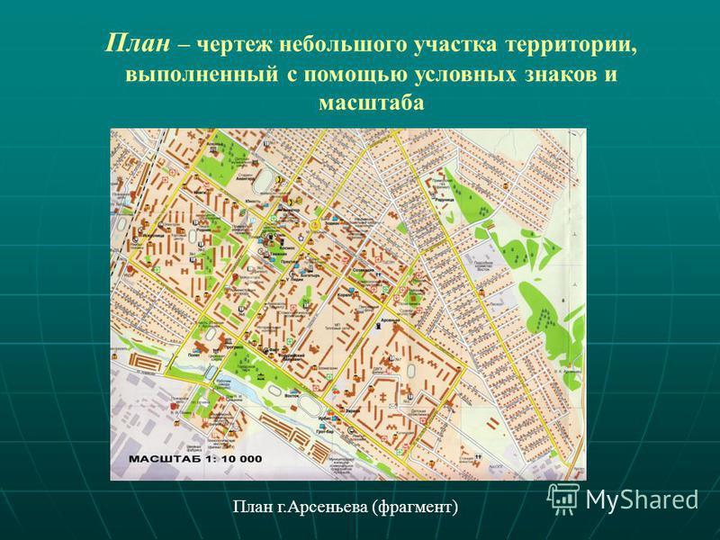 План – чертеж небольшого участка территории, выполненный с помощью условных знаков и масштаба План г.Арсеньева (фрагмент)