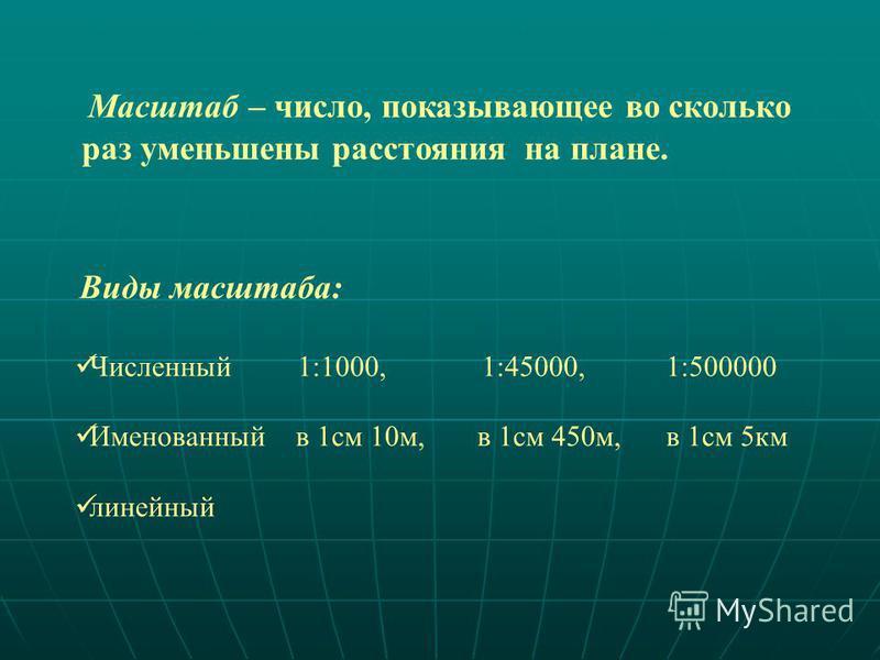 Масштаб – число, показывающее во сколько раз уменьшены расстояния на плане. Виды масштаба: Численный 1:1000, 1:45000, 1:500000 Именованный в 1 см 10 м, в 1 см 450 м, в 1 см 5 км линейный