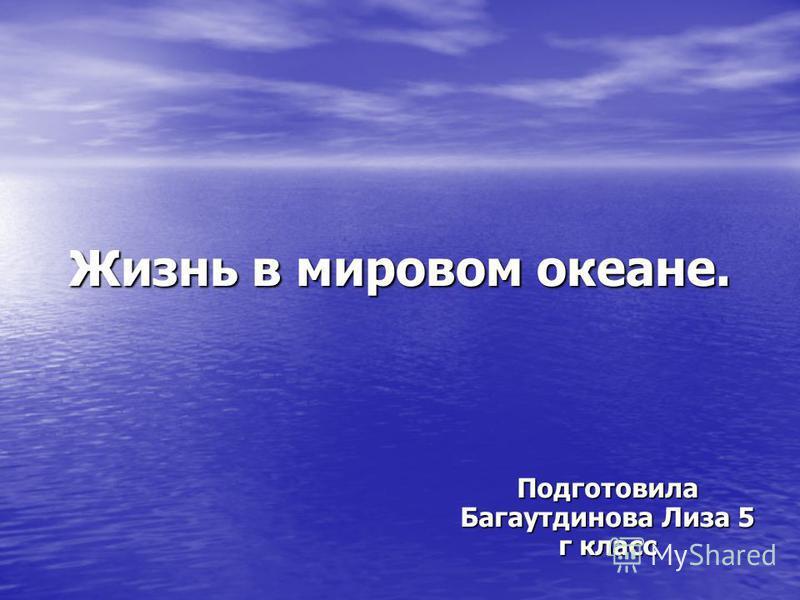 Жизнь в мировом океане. Подготовила Багаутдинова Лиза 5 г класс