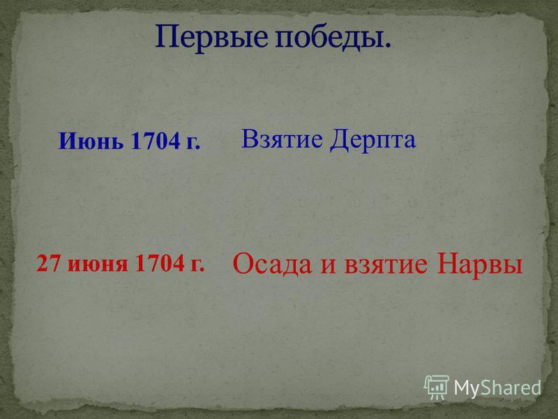 Июнь 1704 г. Взятие Дерпта 27 июня 1704 г. Осада и взятие Нарвы