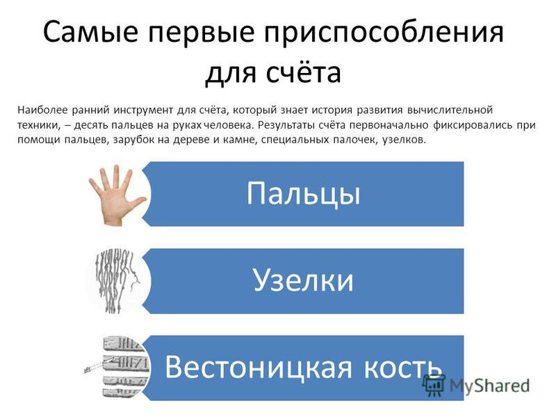 Наиболее ранний инструмент для счёта, который знает история развития вычислительной техники, – десять пальцев на руках человека. Результаты счёта первоначально фиксировались при помощи пальцев, зарубок на дереве и камне, специальных палочек, узелков.