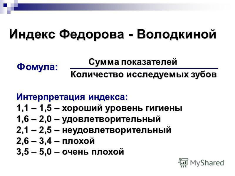 Индекс Федорова - Володкиной Количество исследуемых зубов Фомула: Сумма показателей Интерпретация индекса: 1,1 – 1,5 – хороший уровень гигиены 1,6 – 2,0 –удовлетворительный 1,6 – 2,0 – удовлетворительный 2,1 – 2,5 – неудовлетворительный 2,6 – 3,4 – п