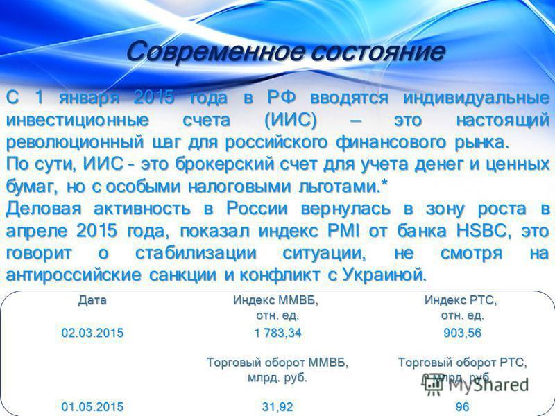 С 1 января 2015 года в РФ вводятся индивидуальные инвестиционные счета (ИИС) это настоящий революционный шаг для российского финансового рынка. С 1 января 2015 года в РФ вводятся индивидуальные инвестиционные счета (ИИС) это настоящий революционный ш