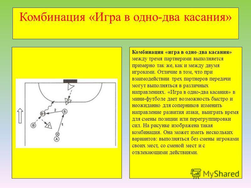 Комбинация «Игра в одно-два касания» Комбинация «игра в одно-два касания» между тремя партнерами выполняется примерно так же, как и между двумя игроками. Отличие в том, что при взаимодействии трех партнеров передачи могут выполняться в различных напр
