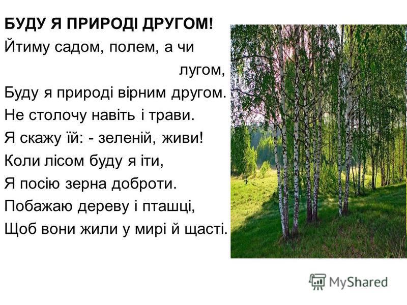 БУДУ Я ПРИРОДІ ДРУГОМ! Йтиму садом, полем, а чи лугом, Буду я природі вірним другом. Не столочу навіть і трави. Я скажу їй: - зеленій, живи! Коли лісом буду я іти, Я посію зерна доброти. Побажаю дереву і пташці, Щоб вони жили у мирі й щасті.