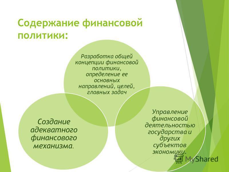 Содержание финансовой политики: Разработка общей концепции финансовой политики, определение ее основных направлений, целей, главных задач Управление финансовой деятельностью государства и других субъектов экономики. Создание адекватного финансового м