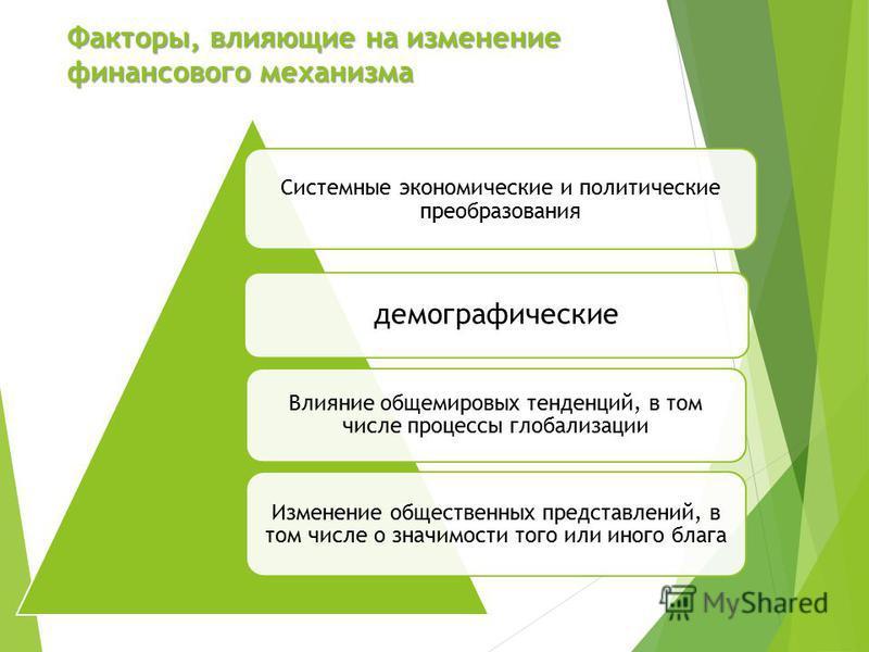 Факторы, влияющие на изменение финансового механизма Системные экономические и политические преобразования демографические Влияние общемировых тенденций, в том числе процессы глобализации Изменение общественных представлений, в том числе о значимости