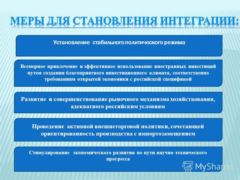 Установление стабильного политического режима Всемерное привлечение и эффективное использование иностранных инвестиций путем создания благоприятного инвестиционного климата, соответственно требованиям открытой экономики с российской спецификой Развит