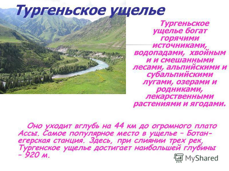 Тургеньское ущелье Тургеньское ущелье богат горячими источниками, водопадами, хвойным и и смешанными лесами, альпийскими и субальпийскими лугами, озерами и родниками, лекарственными растениями и ягодами. Оно уходит вглубь на 44 км до огромного плато