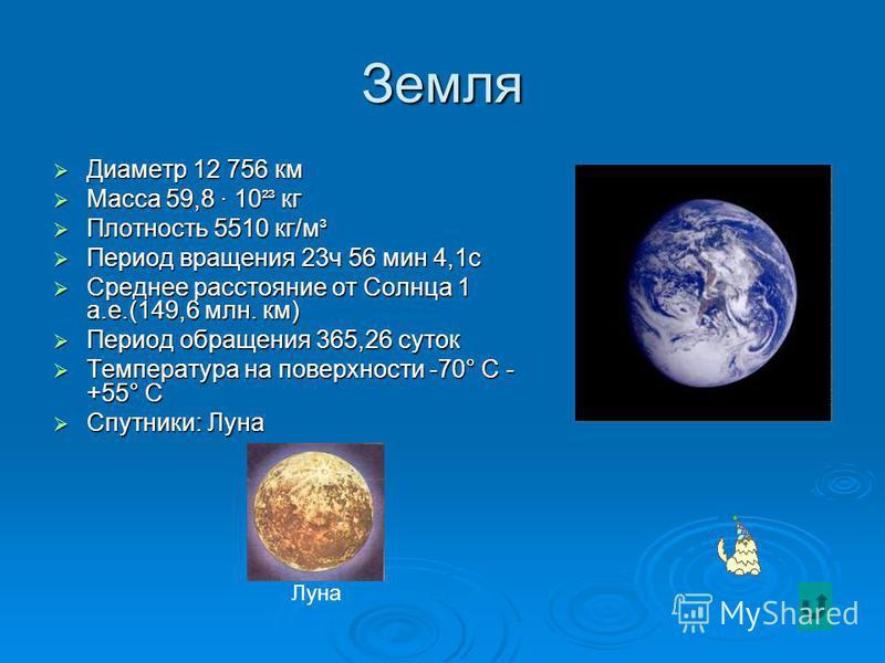 Венера – богиня любви и красоты Диаметр 12 102 км Диаметр 12 102 км Масса 4,87 · 10 ²³ кг Масса 4,87 · 10 ²³ кг Плотность 5250 кг/м ³ Плотность 5250 кг/м ³ Период вращения 243 суток (вращение обратное) Период вращения 243 суток (вращение обратное) Ср