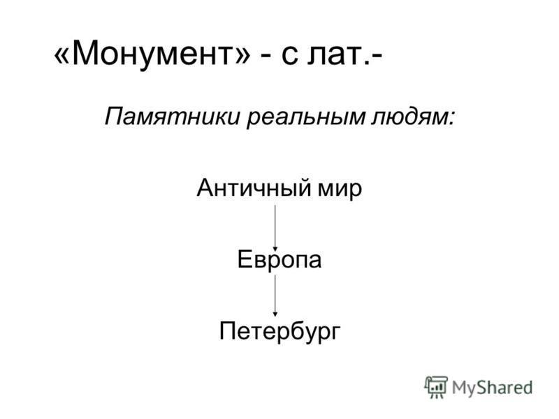 «Монумент» - с лат.- память Памятники реальным людям: Античный мир Европа Петербург