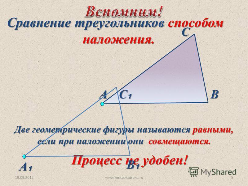 19.09.2012www.konspekturoka.ru5 Две геометрические фигуры называются равными, если при наложении они совмещаются. Сравнение треугольников способом наложения. наложения. Процесс не удобен! АВ С С В А