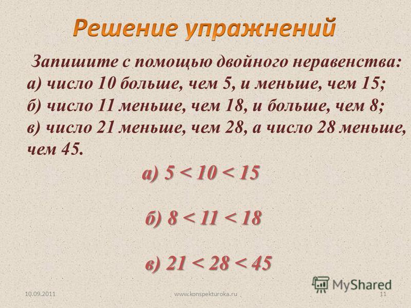 10.09.2011www.konspekturoka.ru11 Запишите с помощью двойного неравенства: а) число 10 больше, чем 5, и меньше, чем 15; б) число 11 меньше, чем 18, и больше, чем 8; в) число 21 меньше, чем 28, а число 28 меньше, чем 45. а) 5 < 10 < 15 б) 8 < 11 < 18 в