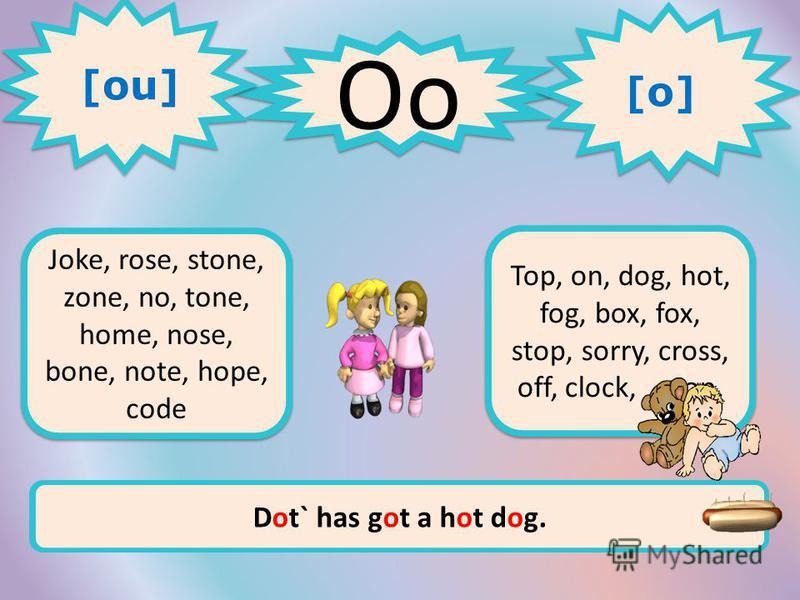 Oo 1 1 2 2 Joke, rose, stone, zone, no, tone, home, nose, bone, note, hope, code Top, on, dog, hot, fog, box, fox, stop, sorry, cross, off, clock, mop, [ou] [o] [o] [o] [o] Let`s go home. It`s time to do homework.Dot` has got a hot dog.