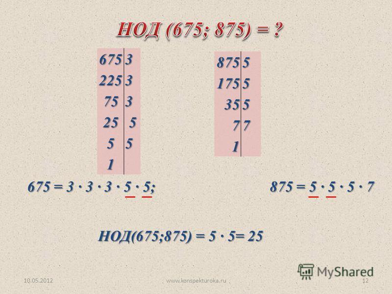 10.05.2012www.konspekturoka.ru1267532253 753 25 5 55 1 87551755 355 77 1 675 = 3 3 3 · 5 · 5; 875 = 5 · 5 5 7 НОД(675;875) = 5 5= 25