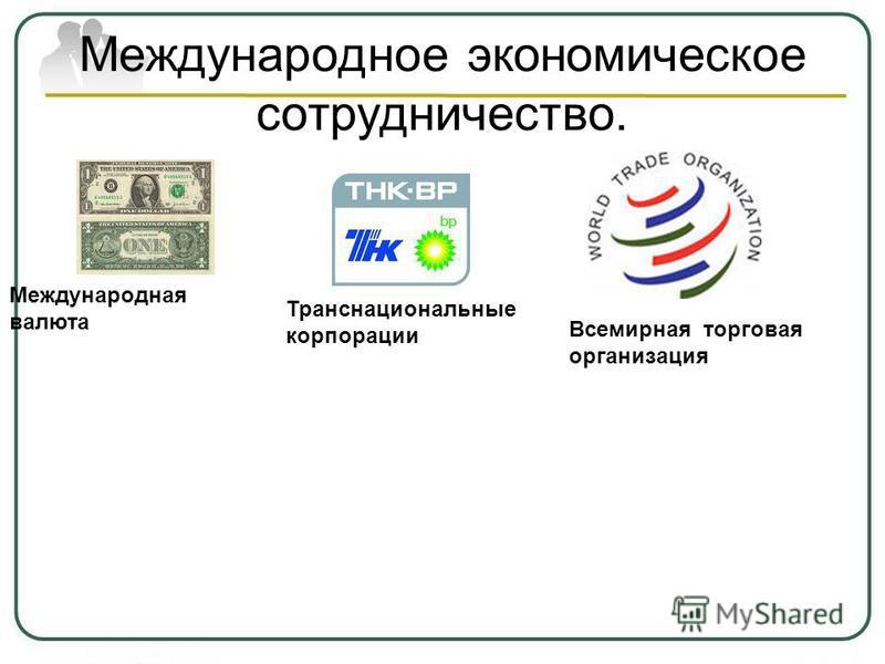 Международное экономическое сотрудничество. Международная валюта Всемирная торговая организация Транснациональные корпорации