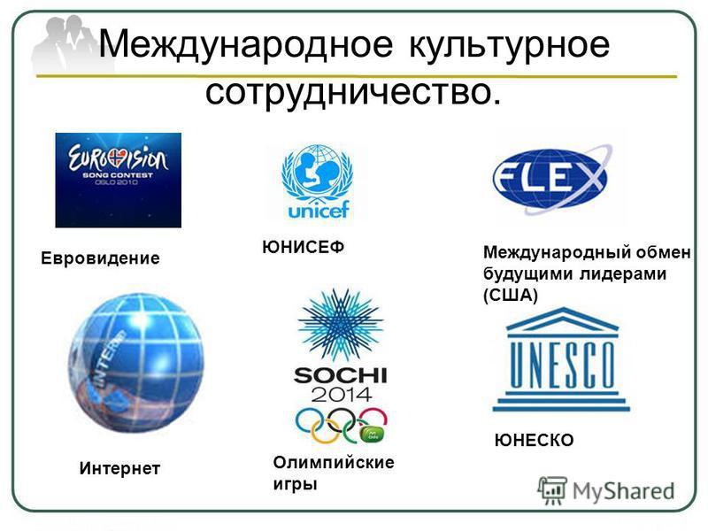 Международное культурное сотрудничество. Евровидение ЮНИСЕФ Международный обмен будущими лидерами (США) Интернет ЮНЕСКО Олимпийские игры