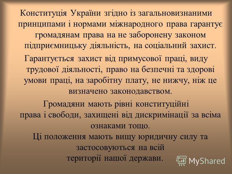 Конституція України згідно із загальновизнаними принципами і нормами міжнародного права гарантує громадянам права на не заборонену законом підприємницьку діяльність, на соціальний захист. Гарантується захист від примусової праці, виду трудової діяльн