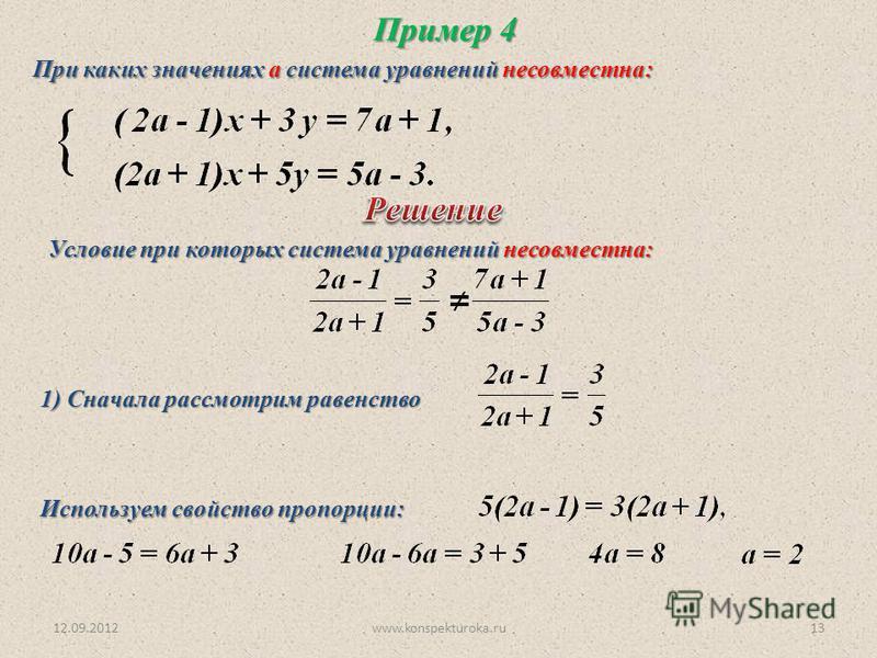 12.09.2012www.konspekturoka.ru13 Пример 4 При каких значениях а система уравнений несовместна: Условие при которых система уравнений несовместна: 1) Сначала рассмотрим равенство Используем свойство пропорции: