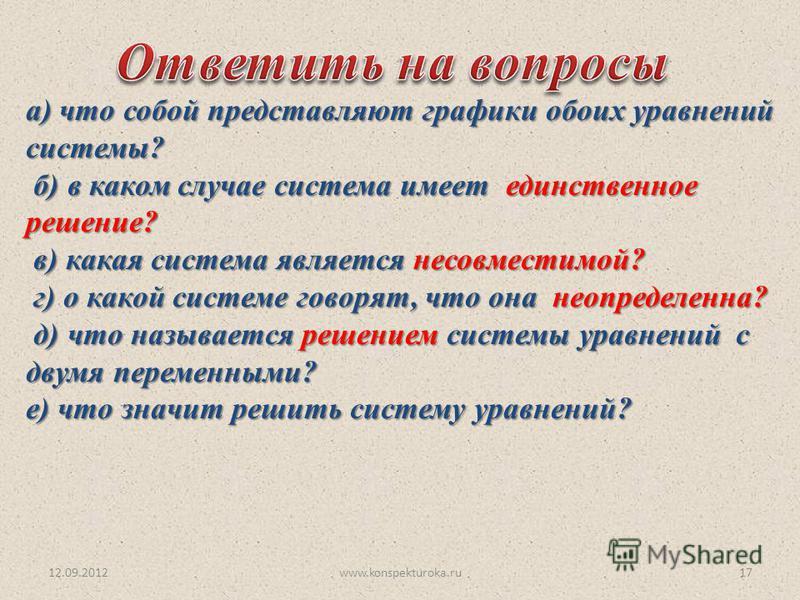 12.09.2012www.konspekturoka.ru17 а) что собой представляют графики обоих уравнений системы? б) в каком случае система имеет единственное решение? б) в каком случае система имеет единственное решение? в) какая система является несовместимой? в) какая