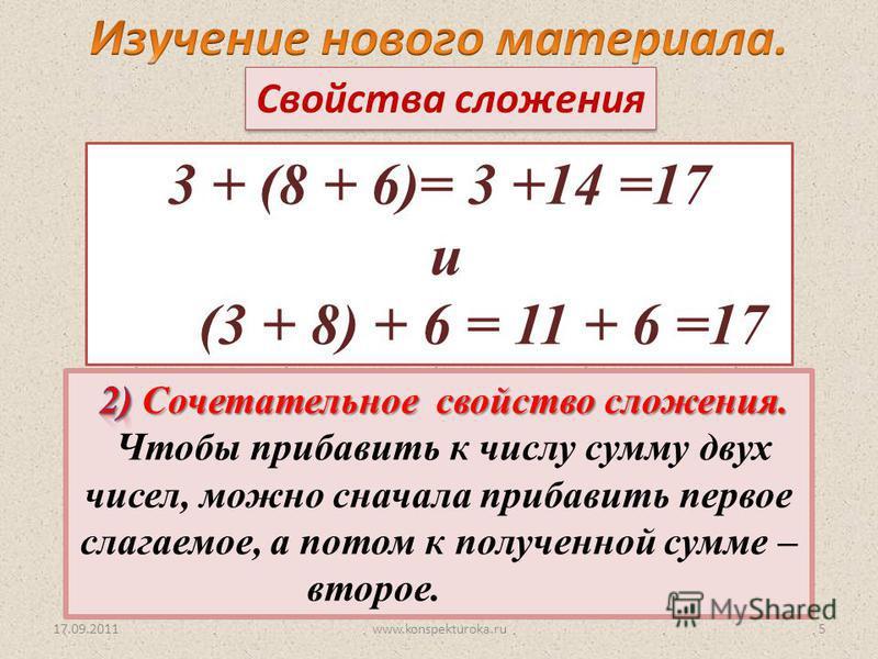 17.09.2011 3 + (8 + 6)= 3 +14 =17 и (3 + 8) + 6 = 11 + 6 =17 Свойства сложения 5www.konspekturoka.ru