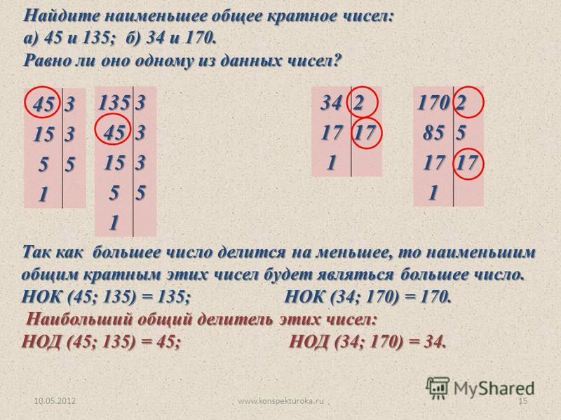 Найдите наименьшее общее кратное чисел: а) 45 и 135; б) 34 и 170. Равно ли оно одному из данных чисел? Так как большее число делится на меньшее, то наименьшим общим кратным этих чисел будет являться большее число. НОК (45; 135) = 135; НОК (34; 170) =