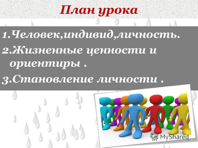 План урока 1.Человек,индивид,личность. 2. Жизненные ценности и ориентиры. 3. Становление личности.